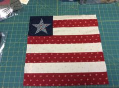 Yankee Diary block#4 Flag with Star! Pieced and appliqué by Rina.
