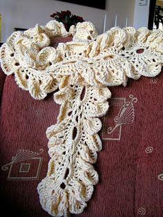 Graficos y Crochet: bufanda en beige