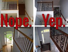 Iron baluster staircase: before and after [Totally easy DIY; just in case we ever move to a house where we need this]