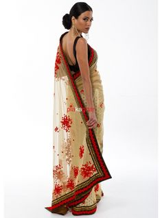 Yellow Anoushka Net Saree with hand french knot embroidery