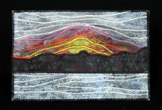 Winter sunset fabric postcard, small art by JPGstudio2536
