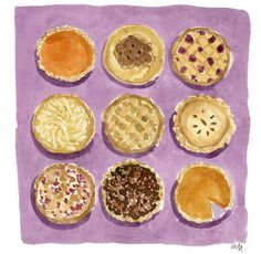 Pie by Caitlin McGauley from Watercolor Wednesdays on blog.lonnymag.com