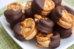 Salty and sweet. Crunchy and melt-in-your-mouth. Peanut butter and chocolate. Dangerous and delicious (you know what I mean). One little bite, so much to experience. Why did I wait so long to give these a try?? A perfect treat to share with a large group of people that you love a whole lot, or to share with yourself on a self-indulgent sweats and sofa sorta day. Yum and yum.   Peanut Butter Pretzel Bites  recipe courtesy Foodaphilia  Calorie estimate: 5,000 for complete recipe  Yield 60 – 80…