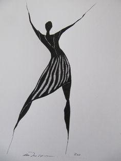 Åse Margrethe Hansen/Masurka. Ink drawing, 2011