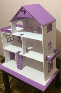 Discover recipes, home ideas, style inspiration and other ideas to try. Wooden Barbie House, Barbie Doll House, Diy Barbie Furniture, Dollhouse Furniture, Doll House Plans, Doll House Crafts, Toy House, Diy Dollhouse, Cardboard Dollhouse