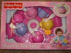 Fisher Price Musical Tea Set . $30.57. There's something magical about a tea party! Tip this teapot over for magic pouring sounds, or press the lid to hear a tea time tune! Set includes four cups, saucers and spoons, plus a creamer and sugar bowl with lid, and a tray for serving treats. Two button-cell batteries included.The Fisher-Price Musical Tea Set - Pink features:Tip teapot for magic pouring sounds.Press lid to hear teatime tune.Set includes four cups, saucers and spoons, ...