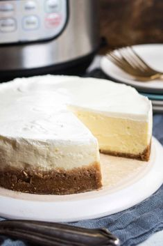 Making cheesecake in the pressure cooker is THE BEST method. The steady heat and steamy environment makes every bite creamy and silky-smooth. No cracks!#Enjoy, #BBQ, #WINGS, #baked, #paleo, #flavor, #healthier, #addictive
