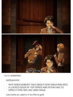 "Levi is just, ""This happens every day, Eren. You get used to it pretty quickly. Armin, Eren E Levi, Mikasa, Attack On Titan Meme, Attack On Titan Fanart, Levihan, Ereri, Comic Manga, Manga Anime"