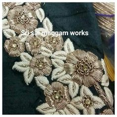 Zardosi Embroidery, Tambour Embroidery, Hand Work Embroidery, Embroidery Motifs, Embroidery Suits, Gold Embroidery, Hand Embroidery Designs, Crazy Quilting, Hand Work Design