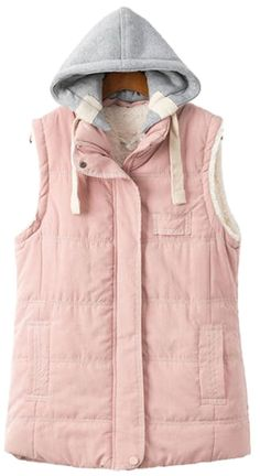 Women's Hooded Waistcoat Cashmere Vests Plus Size HL081(Pink,X-Large)