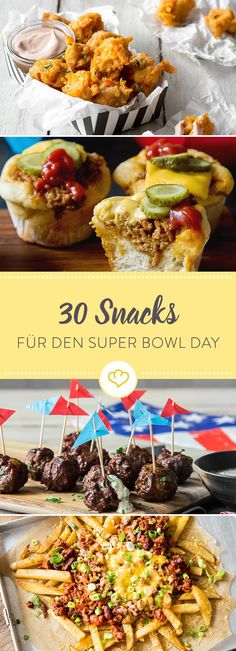 We& put together 30 delicious snacks for you at the American Sports Event of the Year: The Super Bowl, the final of the Football Professional League. The post 30 Super Bowl snacks that have qualified for the finals appeared first on Food Monster. Healthy Superbowl Snacks, Football Snacks, Tailgating Recipes, Yummy Snacks, Burger Recipes, Super Bowl Day, Snacks Für Party, Sandwiches, Food And Drink