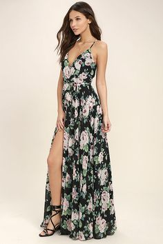 Lulus Exclusive! Your lonely days are over with the Legendary Romance Black Floral Print Wrap Maxi Dress! Blush pink, purple, green, and blue floral print woven poly falls from crisscrossing adjustable spaghetti straps into a princess seamed, wrapping bodice (with modesty snap), and tying waist. Wrapped detail carries into a front slit maxi skirt.