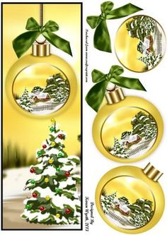 A lovely Christmas Bauble DL card with additional bauble layers. xk