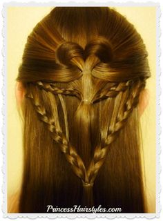 Arrow braid heart #hairstyle for #valentinesday video tutorial. #hearthair #braids