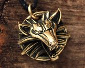 Bronze The Witcher Wolf Online Game 3D Pendant Necklace
