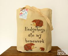 Hedgehogs Ate My Homework Illustration Eco por ceridwenDESIGN