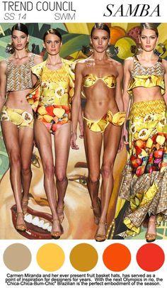 S/S 2014, women's swimwear trend report, viva brazil, samba