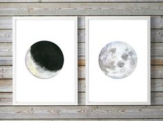 Moon Art full Moon Watercolor Painting two prints by Zendrawing
