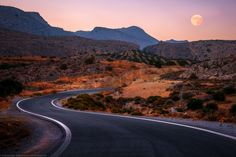 Super Moon Winding Road in the Mountains Crete Greece by Joe Daniel Price - Photo 134216461 - What A Beautiful World, On The Road Again, Greece Islands, Crete Greece, Winding Road, Super Moon, Santorini, Around The Worlds, Country Roads