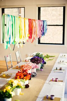 rainbow party - ribbon garland. Like the idea of a rainbow party bc I can incorporate things I already have in all different colors and hopefully cut down on things to purchase.