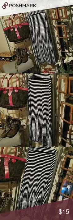 Black and white  striped maxi skirt by J Crew XXS Horizontal striped, maxi skirt by J Crew size XXS.  95% Modal Rayon and 5% spandex.  Minimum wear and in great condition.  Banded waist with rounched sides.  So soft and comfortable. J. Crew Skirts Maxi