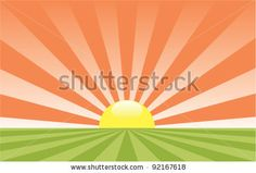 vector abstract rural landscape with rising sun - stock vector