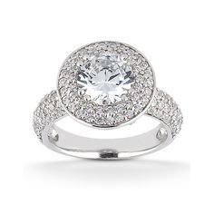 1.20 Cttw Round Diamonds Halo Solitaire with Accents Engagement Ring in 14K…
