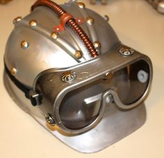 DIY Steampunk Helmet-from yellow construction hat and plastic straw. Paintings that Fly: DIY STEAMPUNK