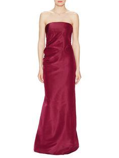 Silk Gathered Strapless Gown by Carolina Herrera at Gilt