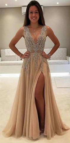 Split Prom Dresses Country 2017 Beaded Long Sevenprom
