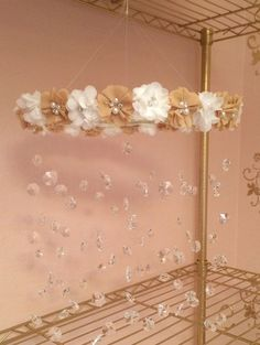 Crystal Baby Mobile Ivory Baby Mobile Flower by TheMobileMaven, $90.00