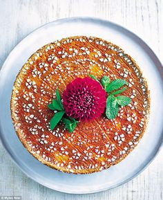 Gluten-free boiled orange & lemon cake with honey - get recipe here: http://www.dailymail.co.uk/femail/food/article-4585176/Oozing-risotto-seared-king-prawns-lemon.html