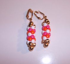 Sarah Coventry Vintage Retro Plastic Earrings Clip Jewelry Orange Pink   5510    #SarahCoventry #DropDangle
