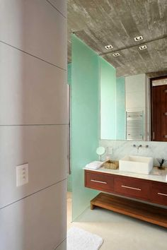 Architecture, Fantastic Black and Red Residence with Wood Tone: Bathroom With Wooden Feature And Turquoise Frosted Glass Bulkhead