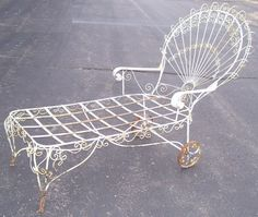 wrought iron victorian style chaise lounge by vintagemoderndesign 89900 antique rod iron patio