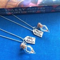 Felix felicis liquid luck vial and tag necklace harry potter inspired handmade ships from usa