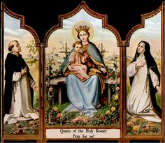 German Holy Card Our Lady of the Holy Rosary, St. Dominic, St. Catherine, Catholic, Queen