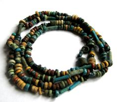 400 B.C Ancient Egypt Ptolemaic Period.XXX Dynasty Faiance Necklace Bead Set in Antiques, Antiquities, Egyptian | eBay