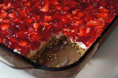 Strawberry Pretzel Dessert - sounds good but would definitely use fresh strawberries vs frozen