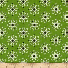 Mod Geek Atoms Atmosphere Green from @fabricdotcom  Designed by Sarah Johnston for Kaufman, this cotton print is perfect for quilting, apparel and home decor accents. Colors include black, white and green.