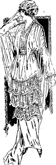 Bridal robe of taffeta; the skirt has thepannier draped above triple flounces of rose point lace; the corsage has the long sleeves drawn up at the shoulders by a band of lace; tulle front; self girdle. (Observer, 31 October 1914)
