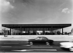 """The Neue Nationalgalerie (New National Gallery), Berlin, the """"temple of light and glass"""" designed by Mies van der Rohe, houses a collection of century European painting and sculpture. IN BERLIN Ludwig Mies Van Der Rohe, Classic Architecture, Contemporary Architecture, Architecture Design, Tectonic Architecture, Famous Architecture, Historic Architecture, National Gallery Berlin, Berlin Spree"""