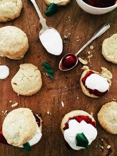 Roasted Strawberry Shortcakes with Basil Cream (Joy The Baker) Roasted Strawberries, Strawberries And Cream, Raspberries, Cherries, Joy The Baker, Strawberry Shortcake, Summer Recipes, Cupcake Cakes, Cupcakes