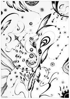 'Angels' : Abstract coloring page, do you see the angel wings ?, From the gallery : Zen & Anti Stress