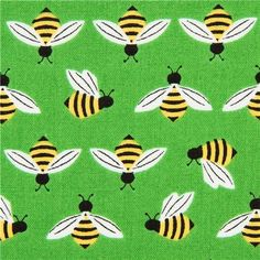 green bee animal fabric by Robert Kaufman from the USA