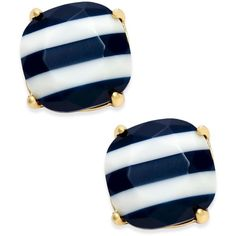 kate spade new york 14k Gold-Plated Nautical Striped Stud Earrings ($38) ❤ liked on Polyvore featuring jewelry, earrings, navy, kate spade jewelry, 14 karat gold earrings, navy stud earrings, 14k stud earrings and 14k gold plated earrings