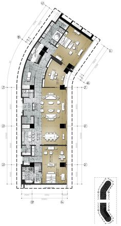 Hilton Anshun Resort & Spa Presidential Suite House Layout Plans, House Layouts, House Plans, Hotel Floor Plan, Residential Interior Design, Hotel Suites, Furniture Layout, Pent House, Resort Spa