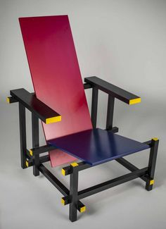Designed in 1917 by Gerrit Rietveld. It represents one of the first explorations by the De Stijl art movement in three dimensions.  Height 34.5 inches, width 25.5 inches, depth 32 inches.
