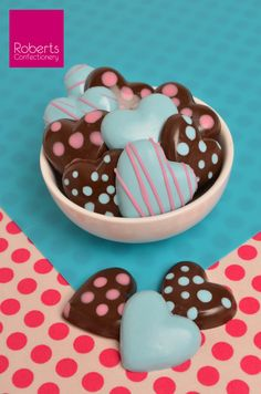 Made using Roberts Confectionery Heart Chocolate Mould with Chocobutter Pink & Blue
