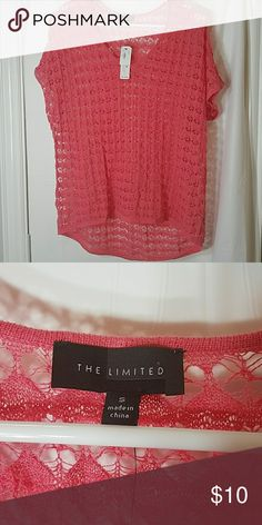 Coral peach crochet hi low top Beautiful peachy coral hi low crochet top. Brand new. Size small. Would be great as a swim suit coverup or over a white tank. The Limited Tops